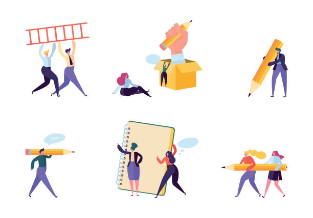 illustrazioni stock, clip art, cartoni animati e icone di tendenza di creative copywriter people business character set. writer team draw pencil in notebook. hipster freelancer employee success career. man corporate coworking flat cartoon vector illustration - designer professionista