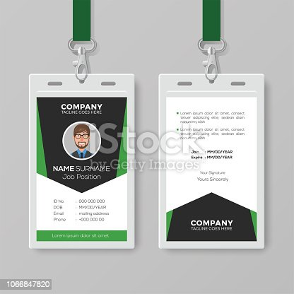 Creative Corporate Id Card Template With Green Details Stock Vector