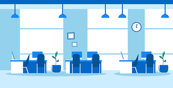 creative co-working center empty no people open space modern office interior sketch doodle horizontal