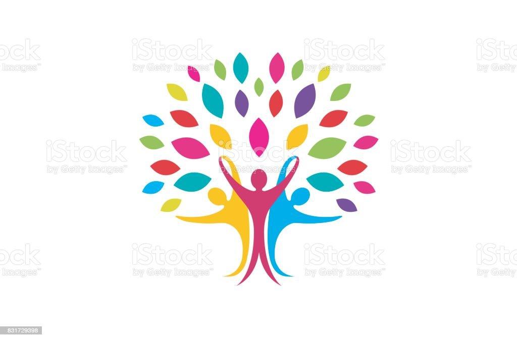 Sembol tasarımı yaratıcı yaratıcı renkli insanlar ağaç vektör sanat illüstrasyonu