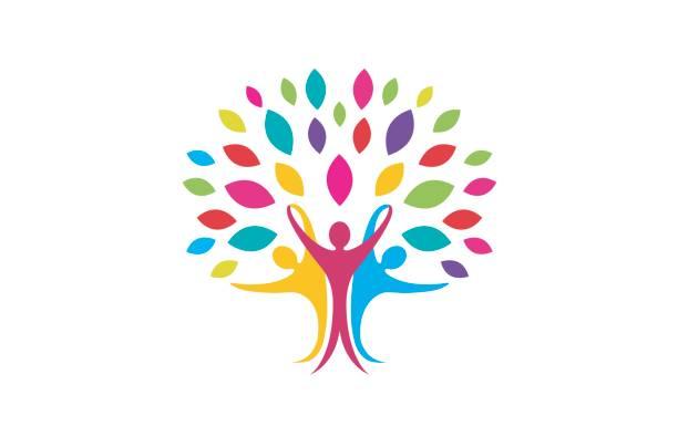 ilustraciones, imágenes clip art, dibujos animados e iconos de stock de diseño del símbolo del árbol de gente colorida creativa creativa - reunión evento social