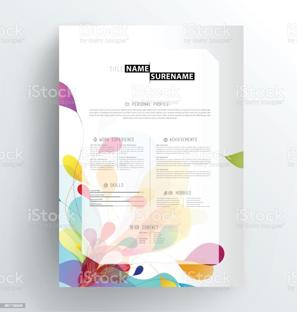 Creative Cv Resume Template Stock Vector Art More Images