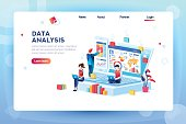 Data analysis concept with characters. Engine strategy, analyzing, infographic of workplace for developers, workspace for creative optimization. Template for web banner, flat isometric illustration.