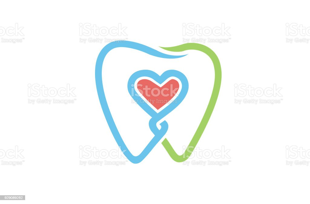 Creative Dental Teeth Heart Metaphor icon, vector art illustration