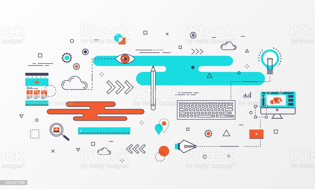 creative design banner abstract element and thin line icons style for website business creative