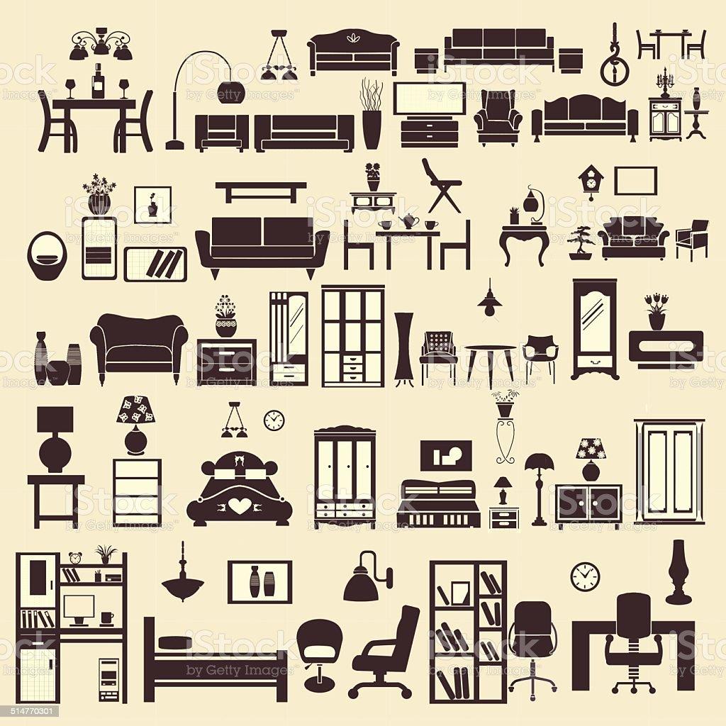 Kreative Design Möbel Icons Set Illustration Auf Den Innenhof Lizenzfreies  Kreative Designmöbelicons Setillustration