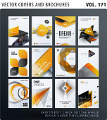 Creative design of brochure set, abstract annual report, horizontal cover layout, flyer in A4 with vector yellow colourful geometric shapes for ecology, branding. Business vector presentation.