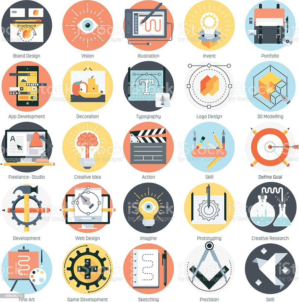 Creative design theme, flat style, colorful, vector icon set for vector art illustration