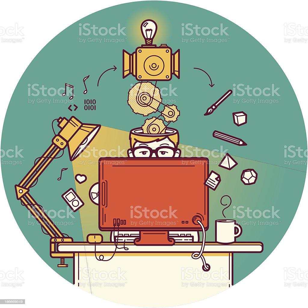 Creative designer vector art illustration