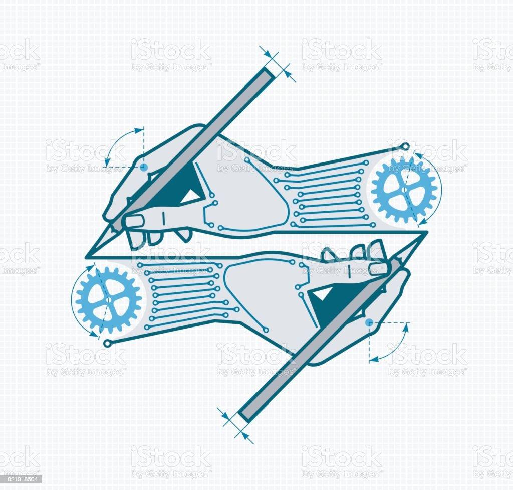 Creative Designing & Engineering vector art illustration