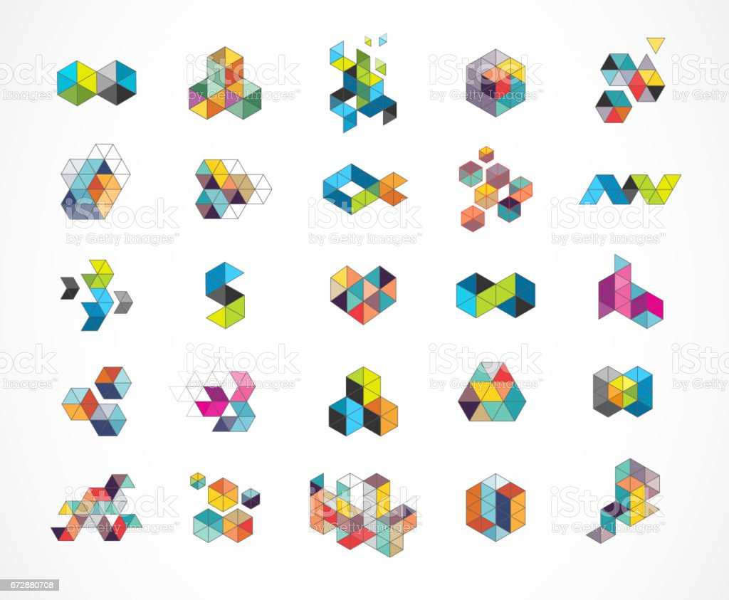 Creative, digital abstract colorful icons, icons vector art illustration