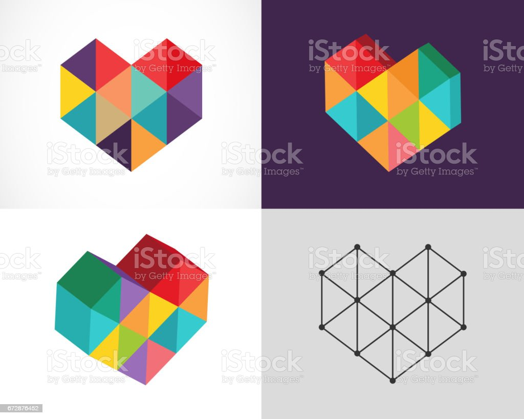 Creative, digital abstract colorful icons vector art illustration
