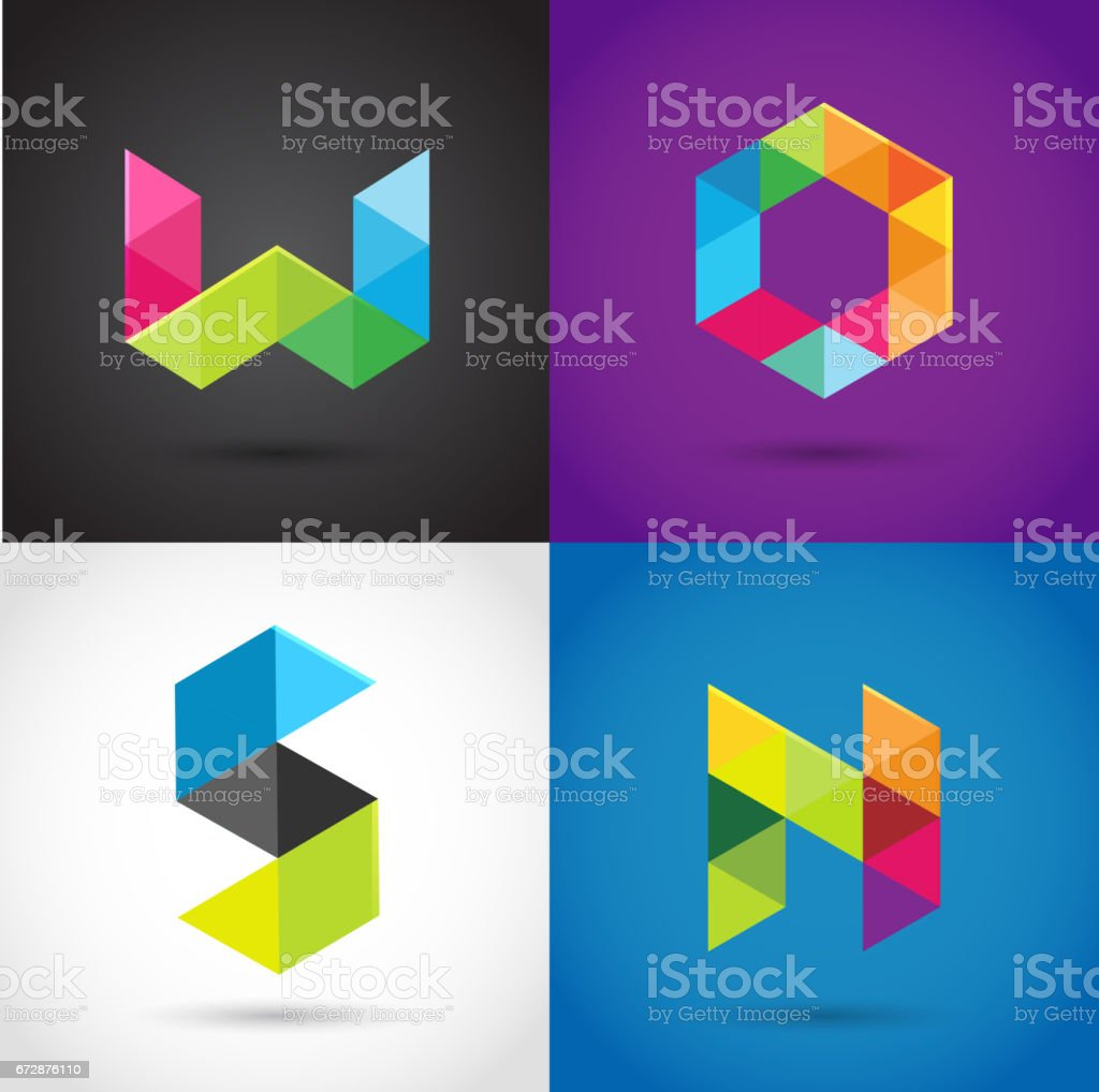 Creative, digital letter colorful icons, icons vector art illustration