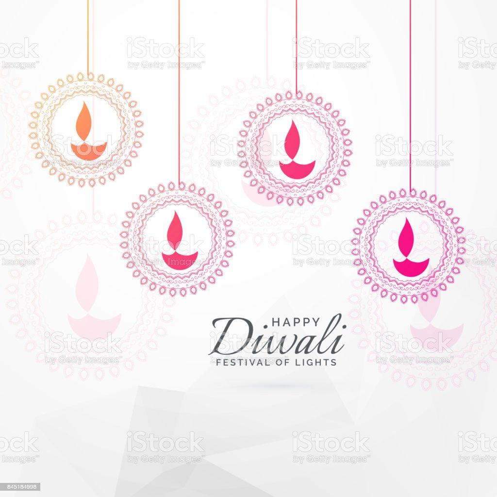 Creative Diwali Festival Greeting Card Design With Hanging Diya Decoration Royalty Free