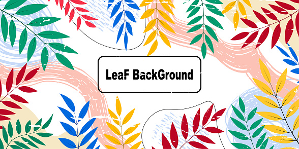 Creative doodle and leaf art header with different shapes and textures. Collage Backgrounds, Modern abstract background, Geometric and leaf template with lines for booklet cover, banner, poster,