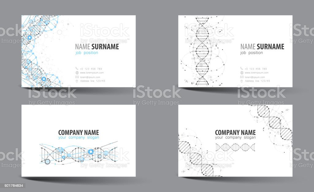 Creative Doublesided Business Card Template Dna Theme Vector Stock