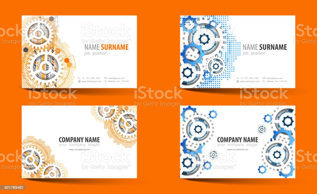 Creative double-sided business card template. Vector