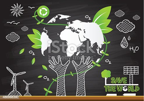 Creative Drawing Green World Map Global Ecological Concepts Stock