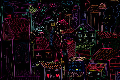 Creative drawing of the city