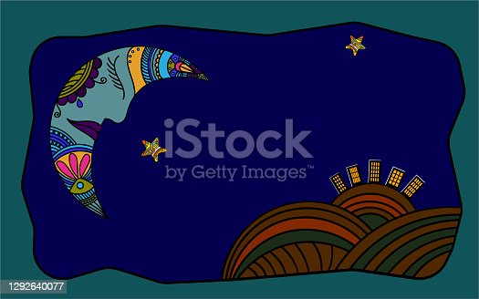 istock Creative drawing of the moon and stars shining over the earth and people's homes 1292640077