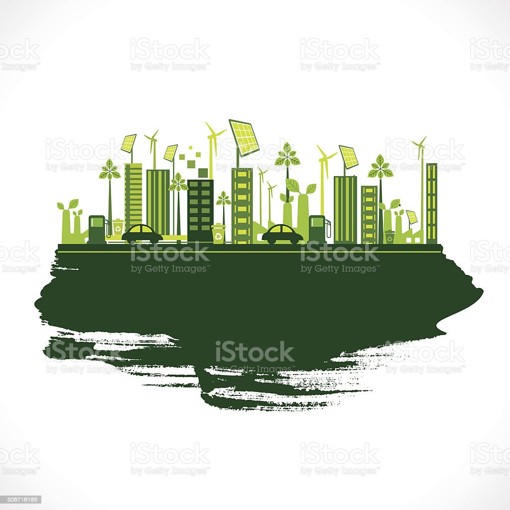 creative eco city background vector art illustration
