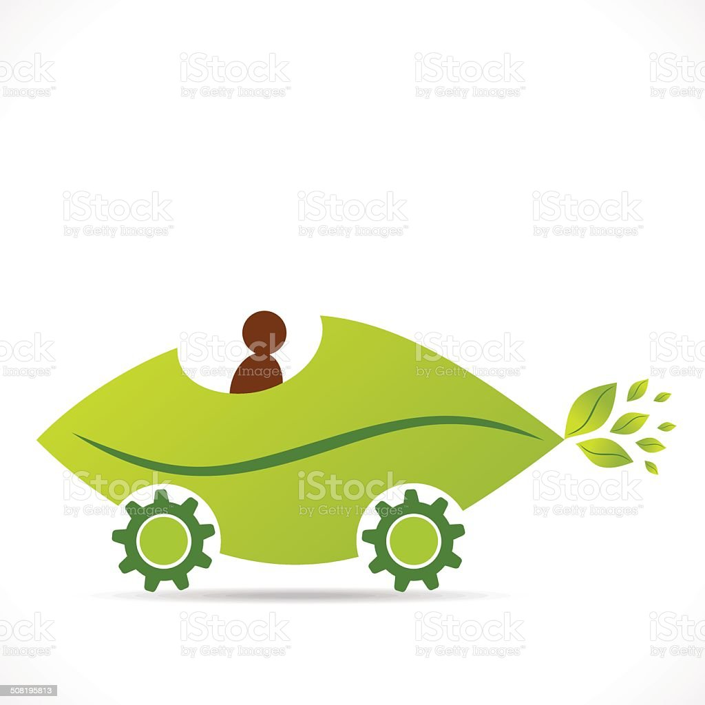 creative eco leaf car design royalty-free stock vector art