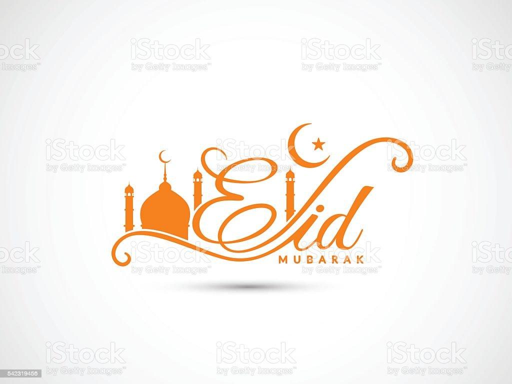 Creative Eid Mubarak text design on white background. vector art illustration