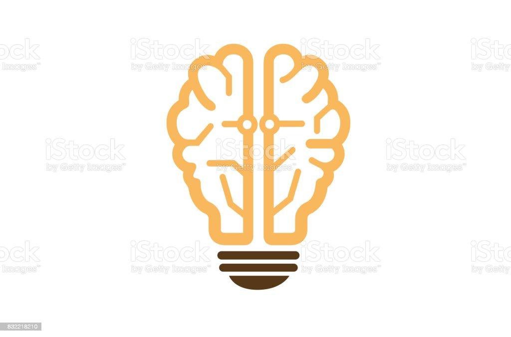 Creative Electric Lamp Human Brain Design Symbol Royalty Free Stock Vector Art