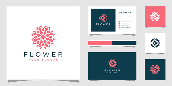 Creative elegant flower with leaf element logo and business card. logo for beauty cosmetics yoga and spa