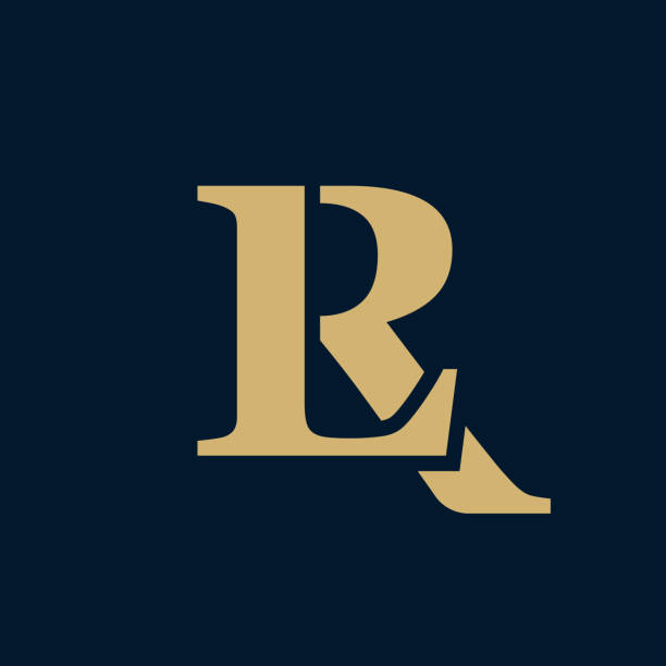 Creative elegant line curve vector logotype. Premium letter LR or RL logo design. Luxury linear creative monogram. Creative elegant line curve vector logotype. Premium letter LR or RL logo design. Luxury linear creative monogram. letter l stock illustrations