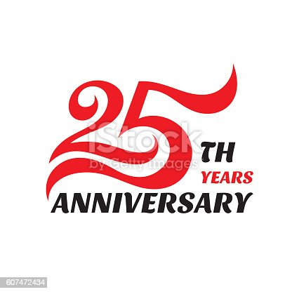 istock Creative emblem 25-th years anniversary. Concept sign. 607472434