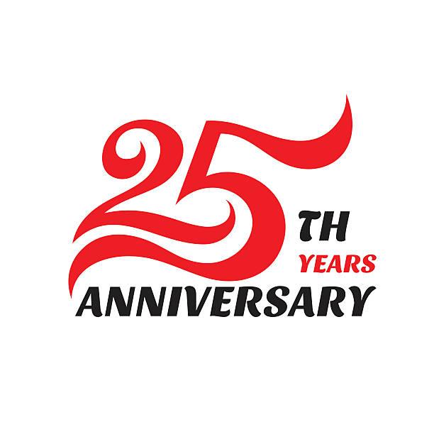 ilustrações, clipart, desenhos animados e ícones de emblema criativo aniversário de 25 anos. sinal conceitual. - 25 30 anos