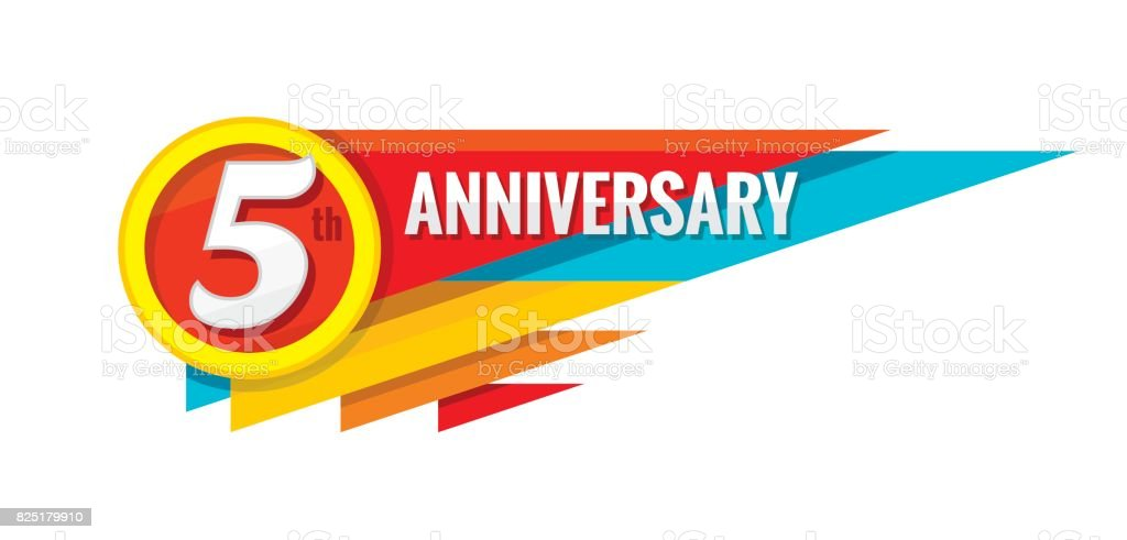 Creative emblem 5 th years anniversary. Five template badge design element. Abstract geometric banner on white background. vector art illustration