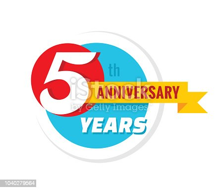 5th Year Anniversary Celebration Design, With Gift Box And Balloons,..  Royalty Free Cliparts, Vectors, And Stock Illustration. Image 82110405.