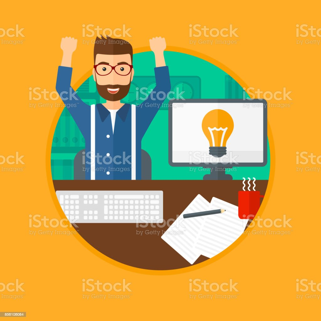 A man with arms up having a business idea. Man working on a computer...