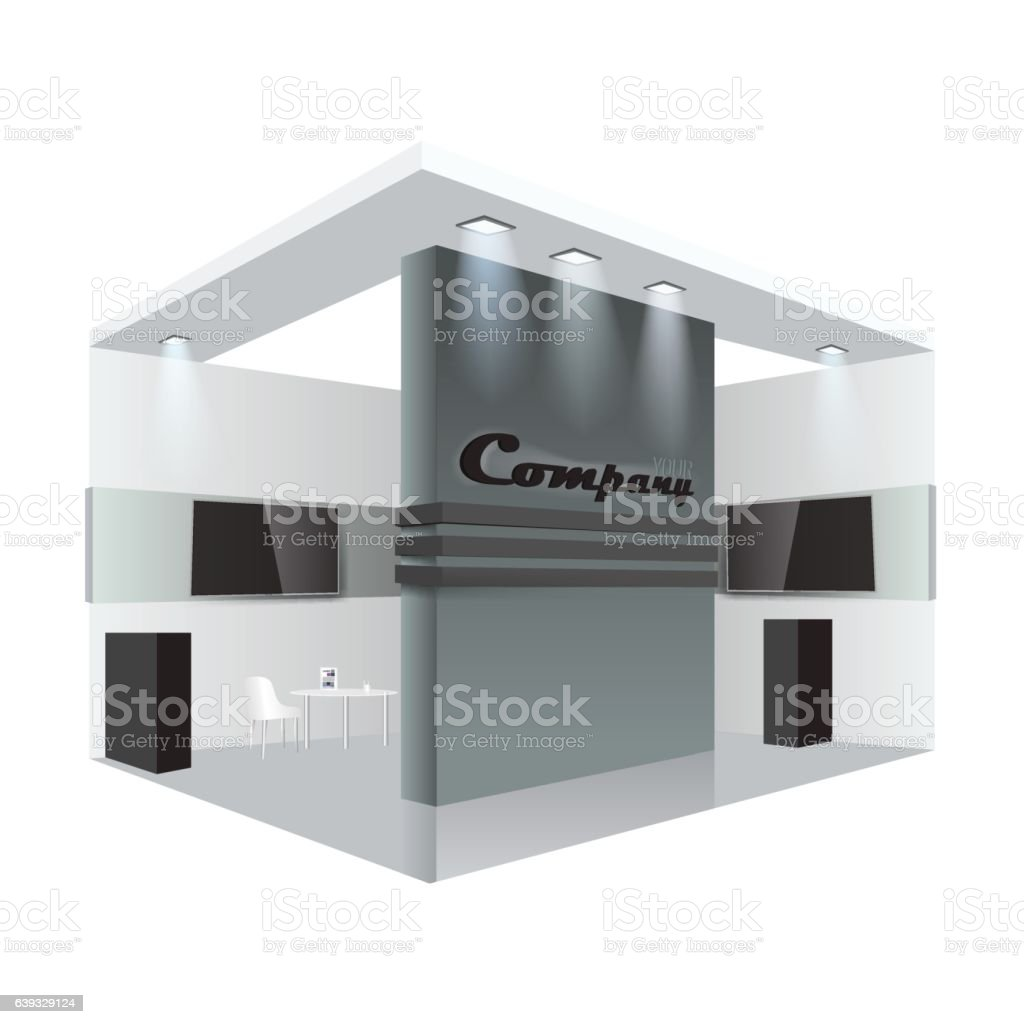 Exhibition Stand Vector : Creative exhibition stand design booth template corporate