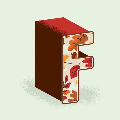 Creative Fall or Autumn 3d decorative letter C design