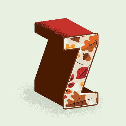 Creative Fall or Autumn 3d decorative letter Z design