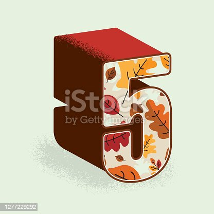 istock Creative Fall or Autumn 3d decorative number 5 design 1277229292