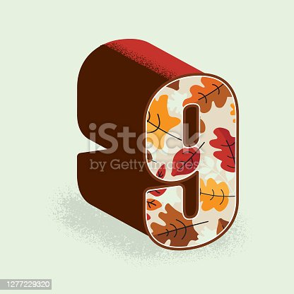 istock Creative Fall or Autumn 3d decorative number 9 design 1277229320