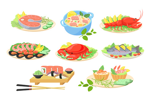 Creative festive seafood dishes flat pictures set