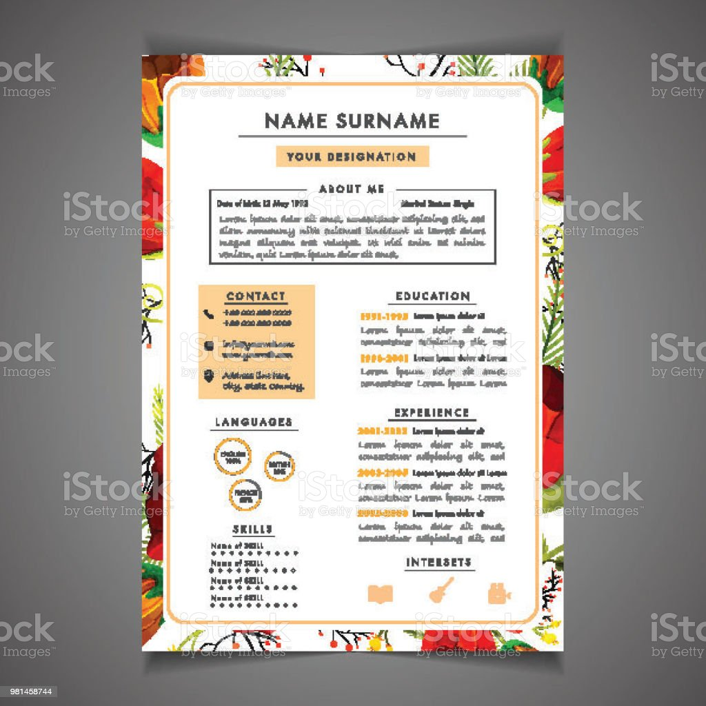 Creative Field Resume Template Can Be Use As Letterhead Or Cover