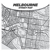 Creative Flat Map of Melbourne, Australia With Black Streets and White Background