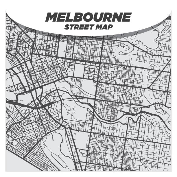 Creative Flat Map of Melbourne, Australia With Black Streets and White Background vector art illustration