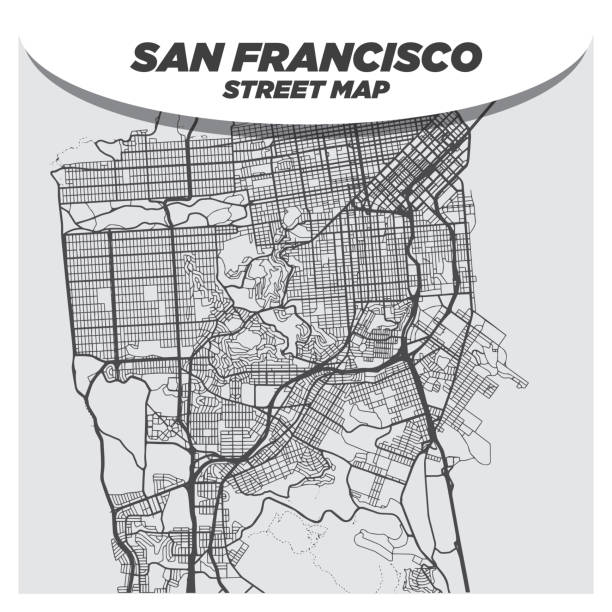 Creative Flat Map of San Francisco, California With Black Streets and White Background vector art illustration