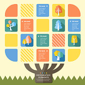 creative flat style infographic with colorful tree elements on yellow background