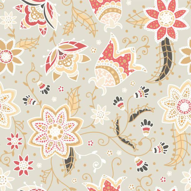 stockillustraties, clipart, cartoons en iconen met creatief floral naadloos patroon met abstracte doodle bloemen, vintage achtergrond in beige, rood en geel natural-ideaal voor mode prints, textiel, banners, wallpapers, vector surface design - batik