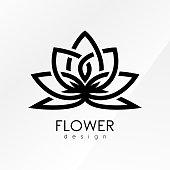 Vector illustration flower inspiration logo design template on white and black backgrounds.
