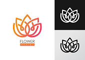 Vector illustration flower inspiration vector logo design template on white and black backgrounds.
