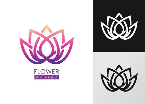 Vector illustration flower inspiration vector logo design template on white and black backgrounds.
